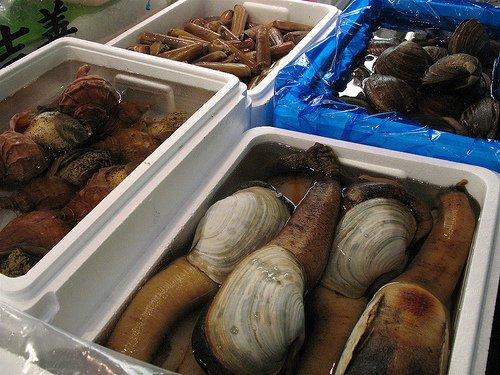 Le genre de délices en vente à Tsukiji.