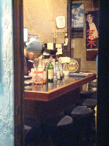 A glimpse into a bar in Golden Gai